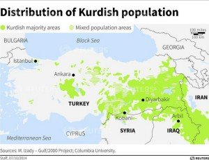 Map of Kurdish populations in the Middle East