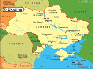 Map shows location of Konotop, Ukraine