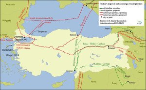 Oil and gas transit pipelines in Turkey (map published by U.S. Energy Information Agency, July 2015)