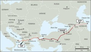 Pictured are the South Caucasus Pipeline, TANAP pipeline and Trans-Adriatic Pipeline, all in development stages