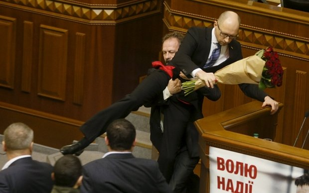 Fight night in Ukrainian Rada as followers of President...