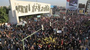Protest in Baghdad on Dec 12, 2015 against Turkish military incursion into northern Iraq (AP)