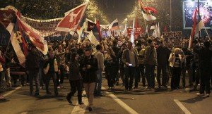 Rally in Montenegro capital city Podgorica on Dec 12, 2015 (Stevo Vasiljevic, Reuters)