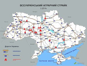 Roads blocked by farmer protests in Ukraine Dec 28, 2015 (image on Agravery.com)