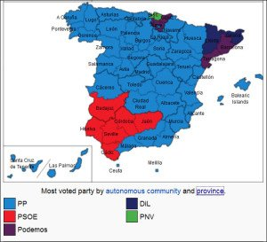 Spanish election party result by province Dec 20, 2015