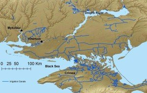 Water canals in southern Ukraine and Crimea (map by Brian Kuns, Stockholm University, 2014)