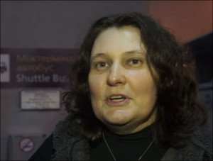 Attorney Tatyana Montyan speaks to journalists at Kyiv airport upon her return from Brussels on Jan 28, 2016 (YouTube)