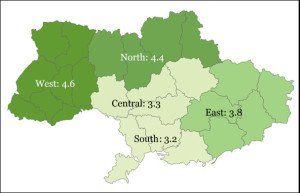 Gallup Poll life ratings by Ukrainians end-2015 by region