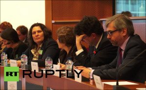 Hearing at the European Parliament on Jan 26, 2016 on human rights in Ukraine and the case of Ruslan Kosaba. Facing camera is Tatyana Montyan
