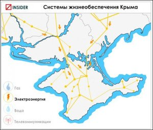 Map showing Crimea's electricity grid