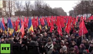 One of three rallies in Moldovan capital Chisinau on Jan 16, 2016 demanding national election