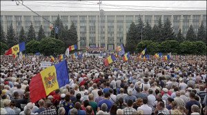 One of three rallies in Moldovan capital Chisinau on Jan 16, 2016 demanding national election (Twitter)