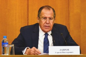 Russian Foreign Minister Sergey Lavrov speaking at lengthy press conference in Moscow on Jan 26, 2016 (MFA website)