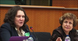 Tatyana Montyan (L) and Tatjana Zdanoka speak at Jan 26, 2016 heaing at European Parliament on human rights in Ukraine (RT Ruptly screenshot)