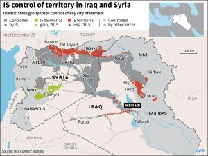 Territorial control in Middle East (IHS Conflict Monitor, image by AFP)