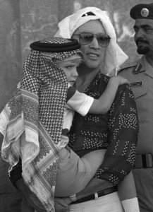 Then Canadian Prime Minister on official tour to Saudi Arabia in Nov 1980, with son Alexandre (Andy Clark, Canadian Press)