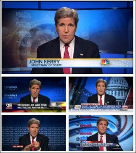 U.S. Secretary of State John Kerry appeared on five U.S. tv talk shows on July 20, 2014 accusing Russia of having a hand in MH17 crash