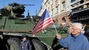 U.S. 'Stryker' vehicle parade welcomed by some in Bialystok, Poland on March 24, 2015 (Reuters)