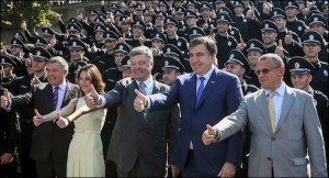 Ukraine political leaders at police graduation ceremony in 2015 (AP)