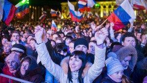 Celebration in Simferopol's Lenin Square following the Crimean secession vote in March 2014