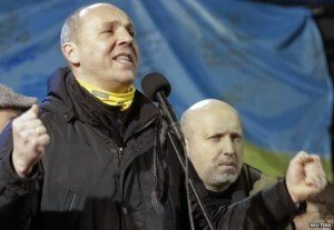 'Commander' Andriy Paruiby on Maidan Square, Feb 2014; beside him is Oleksandr Turchynov, who replaced Paruiby in Aug 2014 as secretary of Ukraine's national security council (Reuters)