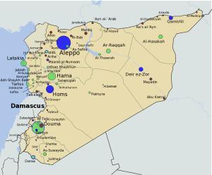 Map showing Afrin, Syria (Wikimedia)