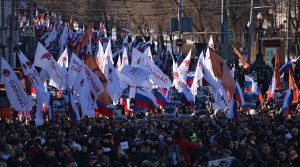 March in Moscow Feb 27, 2016 commemorates one year anniversary of shooting in Moscow of Boris Nemtsov, a former aide to President Boris Yeltsin (Eugene Odinokov, Sputnik)
