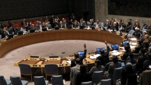 Security Council unanimous vote at UN headquarters Feb 26, 2016 in support of Syria ceasefire (Brendan McDermid, Reuters)