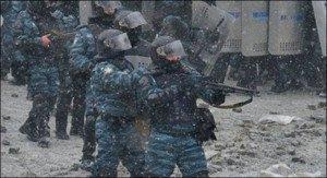 Ukrainian police in Maidan Square, Kyiv in Feb 2014