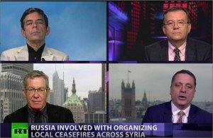 Clockwise from top left, Geoffrey Aronson, 'Crosstalk' host Peter Flavelle, Alexander Mercouris and Daniel Lazare
