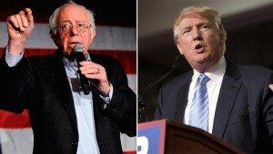 U.S. Democratic presidential candidate Bernie Sanders (L) and Republican presidential candidate Donald Trump (Reuters)