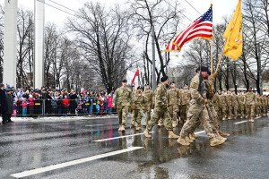 U.S. troops march in Estonian Independence Day Parade in Tallinn, Estonia on Feb. 24, 2016 (U.S. Army photo)