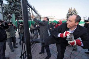 Andriy Parubiy storming the Ukrainian Parliament during the February 2014 coup in Kyiv