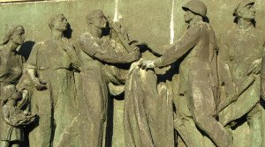 Detail of relief on Soviet Military Cemetery in Warsaw, Poland (Wikipedia )