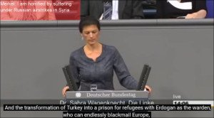 German MP Sahra Wagenknecht slams Merkel hypocrisy over war in Syria