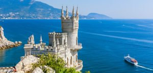Iconic Swallow's Nest Castle on the south coast of Crimea