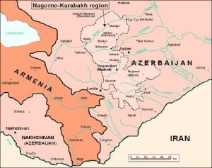 Map of Armenia and Azerbaijan