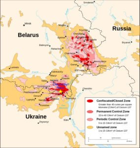 Map of Chernobyl exclusion zone (on Wikipedia)