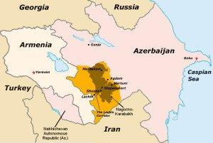 Map shows disputed Nagorno-Karabach region between Armenia and Azerbaijan