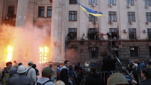 Murderous arson attack in Odessa, May 2, 2014 (Yevgeny Volokin, Reuters)