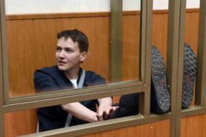 Nadiya Savchenko on trial in Russia in early 2016 (photo by Vasily Maximov, AFP)