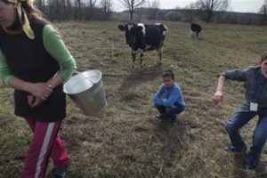 Viktoria Vetrova and her two children milking a family cow on April 5, 2016, 53 km south of destroyed Chernobyl nuclear station (Mstyslav Chernov, AP)