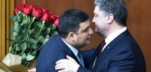 Volodymyr Groysman (L), appointed prime minister of Ukraine on April 14, 2016 by President Petro Poroshenko (R)