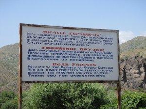 Welcome sign to Nagorno Karabakh