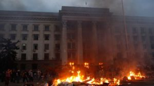 Arson attack in Odessa, Ukraine on May 2, 2014