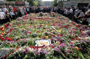 Commemoration May 2, 2016 in Odessa, Ukraine. In background is Trade Union House (Anatolii Stepanov, AFP)