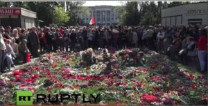 Commemoration ceremony on May 2, 2016 of Odessa Massacre two years earlier. In background is House of Trade Unions where arson massacre occurred