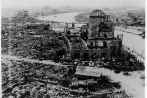 Hiroshima after the U.S. nuclear bombing on Aug 6, 1945