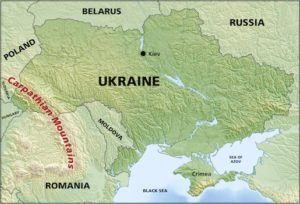Map showing Carpathian Mountain range