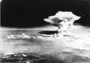 World's first nuclear bombing against civilians, by United States in Hiroshima, Japan on Aug 6, 1945